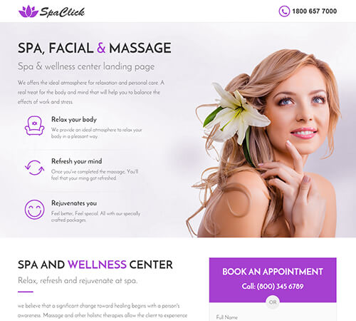 Medical, Spa, Yoga & Fitness Landing Page Template