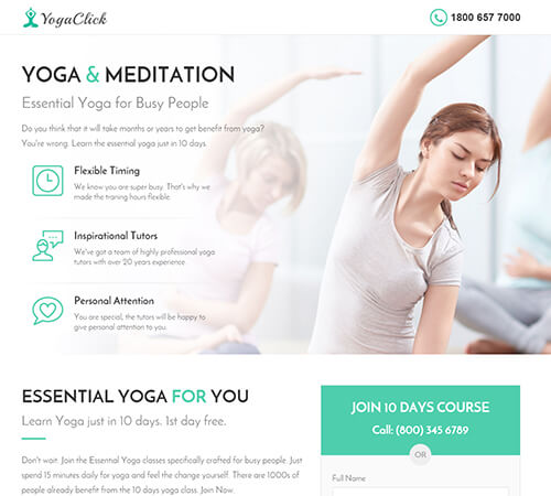 Medical, Spa, Yoga & Fitness Muse Landing Page Template