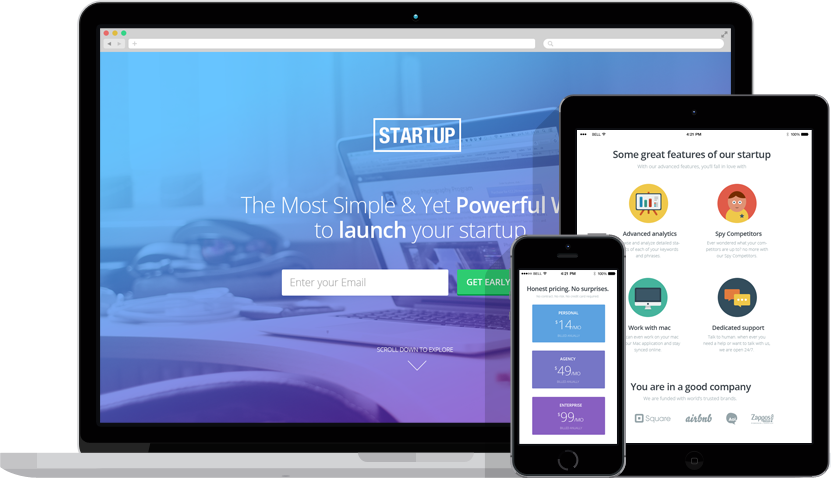 Startupkit Responsive Landing page Template